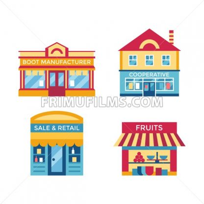 Digital vector yellow supermarket icons with drawn simple line art info graphic, presentation with commerce, shopping building elements around promo template, flat style - frimufilms.com
