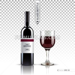 Glass of wine and bottle isolated on transparent background. Vector 3d realistic set illustration - frimufilms.com