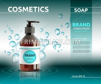 Liquid soap cosmetic ads template. Hydrating body lotion. Mockup 3D Realistic illustration. Sparkling bubbles over blue - frimufilms.com