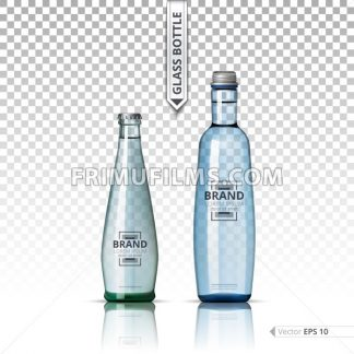Mineral still or sparkling water bottles mock up. Isolated on transparent background. Vector 3d detailed mock up set illustrations - frimufilms.com