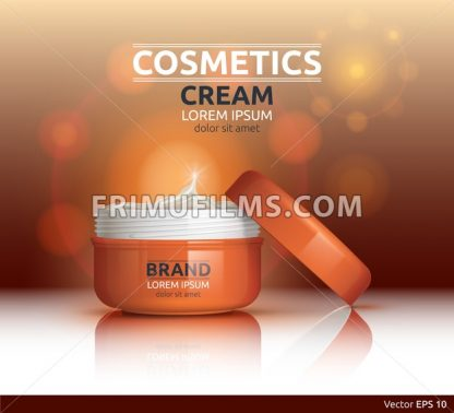 Moisturizing Cream cosmetic ads template. Hydrating face lotion. Mockup 3D Realistic illustration. Sparkling background color - frimufilms.com