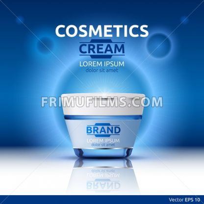 Moisturizing Cream cosmetic ads template. Hydrating face lotion. Mockup 3D Realistic illustration. Sparkling blue background color - frimufilms.com