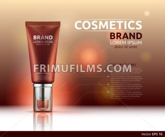 Moisturizing serum cosmetic ads template. Hydrating face lotion. Mockup 3D Realistic illustration. Sparkling blue background colors - frimufilms.com