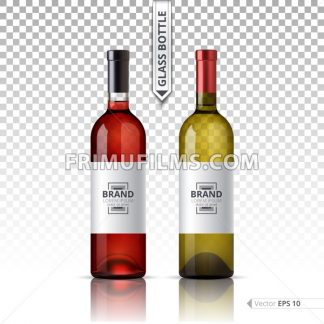 White and red wine bottles isolated on transparent background. Vector 3d detailed mock up set illustrations - frimufilms.com