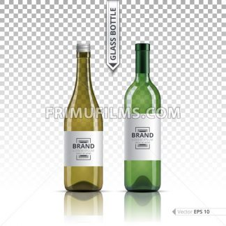 White wine and brandy or liquor bottles isolated on transparent background. Vector 3d detailed mock up set illustrations - frimufilms.com