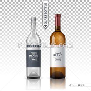 Wine and Vodka bottles isolated on transparent background. Vector 3d detailed mock up set illustrations - frimufilms.com