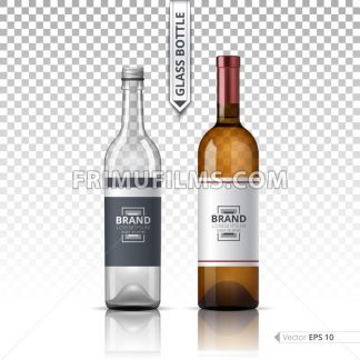 Wine and Vodka bottles isolated on transparent background. Vector 3d detailed mock up set illustrations - frimufilms.com