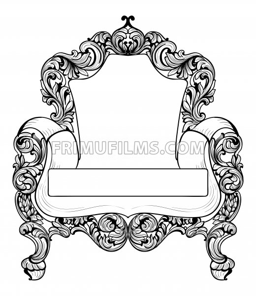 Baroque armchair with luxurious ornaments. Vector French Luxury rich intricate structure. Victorian Royal Style decors - frimufilms.com