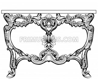 Baroque console table engraved. Vector French Luxury rich intricate ornamented structure. Victorian Royal Style decors - frimufilms.com