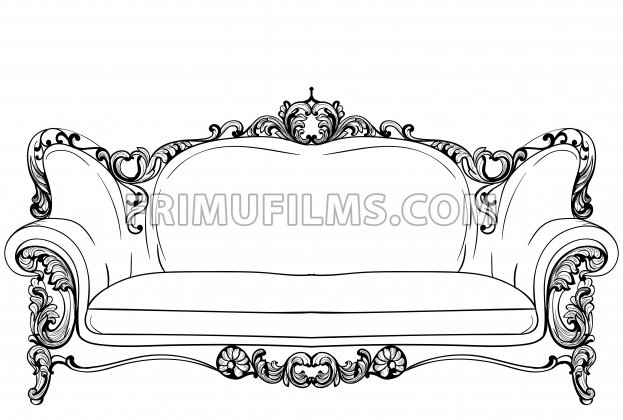 Baroque sofa with luxurious ornaments. Vector French Luxury rich intricate structure. Victorian Royal Style decors - frimufilms.com