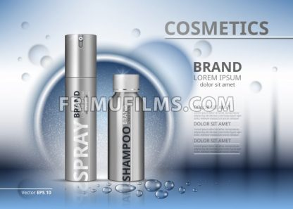 Cosmetic package ads template. Shampoo and spray in silver bottles. Mockup 3D Realistic illustration. Sparkling water drops backgrounds - frimufilms.com