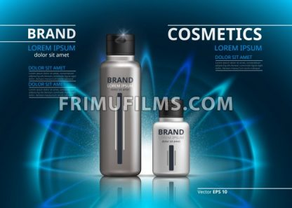 Cosmetic package ads template. Shampoo or shower gel, skincare products in silver bottles. Mockup 3D Realistic illustration. Sparkling water drops backgrounds - frimufilms.com