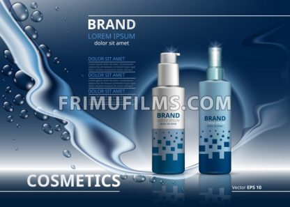 Cosmetic package ads template. Skin care gel or mousse bottles. Mockup 3D Realistic illustration. Sparkling water drops backgrounds - frimufilms.com