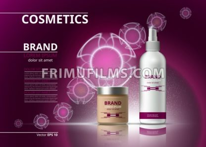 Cosmetic realistic package ads template. Hydrating bb cream and micellar water products bottles. Mockup 3D illustration. Sparkling backgrounds - frimufilms.com