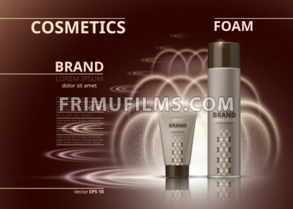 Cosmetic realistic package ads template. Hydrating body foam and gel products bottles. Mockup 3D illustration. Sparkling backgrounds - frimufilms.com