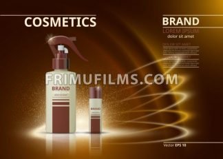 Cosmetic realistic package ads template. Hydrating face cream and body spray products bottles. Mockup 3D illustration. Sparkling backgrounds - frimufilms.com