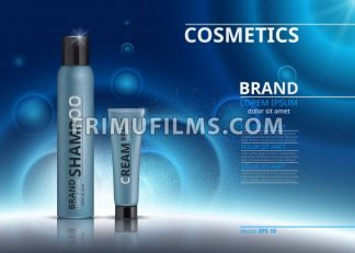 Cosmetic realistic package ads template. Hydrating face mask and body cream products in blue bottles. Mockup 3D illustration. Sparkling background - frimufilms.com