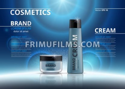 Cosmetic realistic package ads template. Hydrating face mask and body cream products in blue bottles. Mockup 3D illustration. Sparkling backgrounds - frimufilms.com
