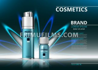 Cosmetic realistic package ads template. Hydrating face serum and spray products bottles. Mockup 3D illustration. Sparkling background - frimufilms.com