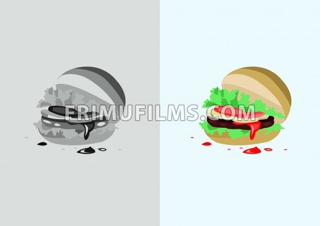 Digital vector funny comic cartoon colored and black and white hot burger with ketchup, abstract realistic flat style - frimufilms.com