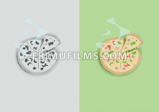Digital vector funny comic cartoon colored and black and white hot pizza with vegetables and steam, abstract realistic flat style - frimufilms.com