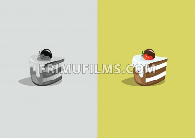 Digital vector funny comic cartoon colored and black and white piece of cake with cream and strawberry, abstract realistic flat style - frimufilms.com