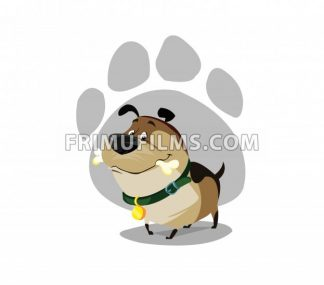 Digital vector funny comic cartoon colored happy puppy dog with a bone in mouth, foot print, green collar and golden medal, hand drawn illustration, abstract realistic flat style - frimufilms.com