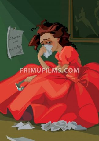 Digital vector funny comic cartoon fairytale red dress princess with crown crying at a ball and throwing away letters, not today, abstract realistic flat style - frimufilms.com