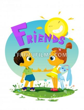 Digital vector funny comic cartoon girl and boy kid friends with toys holding and shaking by the fingers, happy sun, hand drawn illustration, abstract realistic flat style - frimufilms.com