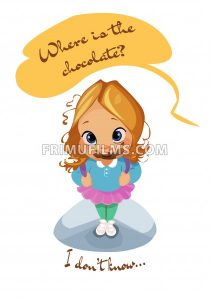 Digital vector funny comic cartoon pupil kid girl mouth full of dessert, i do not know where is the chocolate, dirty face, abstract realistic flat style - frimufilms.com