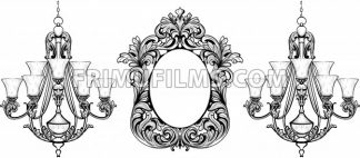Fabulous Baroque Mirror and chandelier frame set. Vector French Luxury rich carved ornaments. Victorian wealthy Style furnitures - frimufilms.com