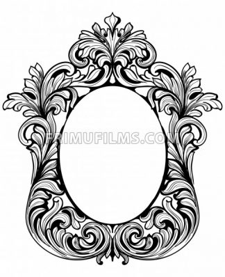 Fabulous Baroque Mirror frame set. Vector French Luxury rich carved ornaments. Victorian wealthy Style furnitures - frimufilms.com