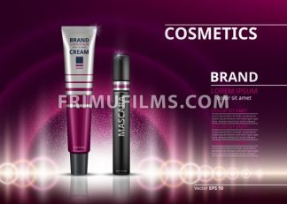 Mascara and eye cream for dark circles. sparkling effects background. Elegant label for design, template. Mockup 3D Realistic Vector illustrations - frimufilms.com