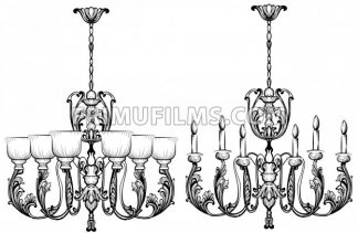 Rich Baroque Classic chandelier. Luxury decors accessory design. Vector illustration sketch - frimufilms.com