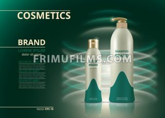 Shampoo and soap natural products realistic bottles. Mockup 3D illustration. Cosmetic package ads template. Water effect Sparkling backgrounds - frimufilms.com