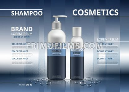 Shampoo and soap realistic bottles. Mockup 3D illustration. Cosmetic package ads template. Sparkling background color - frimufilms.com