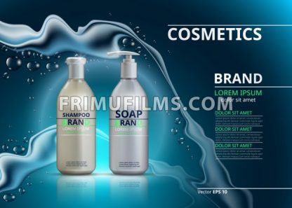 Shampoo and soap realistic bottles. Mockup 3D illustration. Cosmetic package ads template. Water effect Sparkling backgrounds - frimufilms.com