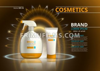 Sun protection cosmetic product design. Cosmetic bottle on a blur sparkling background. Template for ads or magazine. 3d illustrations - frimufilms.com