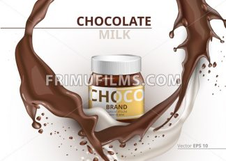 Chocolate bottle package mock up Vector realistic on splash backgrounds - frimufilms.com