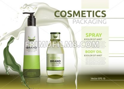 Body oil and spray natural products realistic bottles Vector. Mockup 3D illustration. Cosmetic package ads template. Splash Water effect background - frimufilms.com