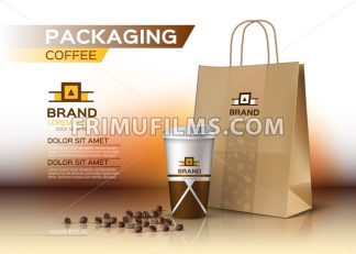 Coffee cup packaging mock up Vector realistic. Coffee beans and shopping bag product. Label logo designs - frimufilms.com