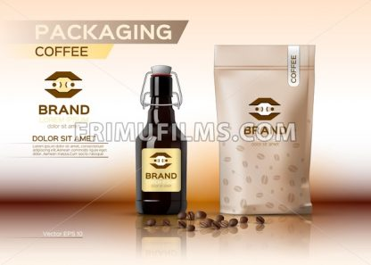 Coffee packaging mock up Vector realistic. Coffee syrup bottle. Coffee beans bag product. Label logo design - frimufilms.com