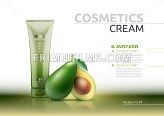 Cream cosmetic realistic mock up package avocado essence. Vector 3D illustration. Cosmetic package ads template. Natural fruit detailed 3d element - frimufilms.com