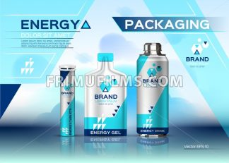 Energy realistic set mock up. Energy Drink, gel and pills product packaging. Vector 3d label design - frimufilms.com