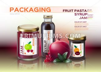 Fruit pasta, jam and syrup bottles mock up. Vector realistic products. 3d packaging label design - frimufilms.com