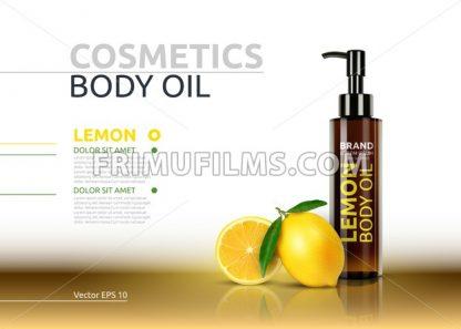 Lemon body oil realistic bottles. Vector Mockup 3D illustration. Cosmetic package ads template. Lemon fruit detailed 3d element - frimufilms.com