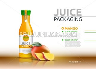 Mango juice packaging Realistic Vector mock up. Fruits juicy glass bottle advertise templates. 3d detailed elements - frimufilms.com
