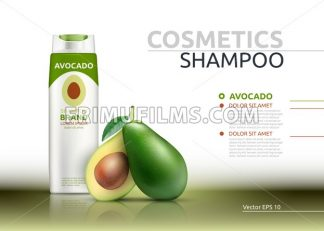 Shampoo cosmetic realistic mock up package avocado essence. Vector 3D illustration. Cosmetic package ads template. Natural fruit detailed 3d element - frimufilms.com