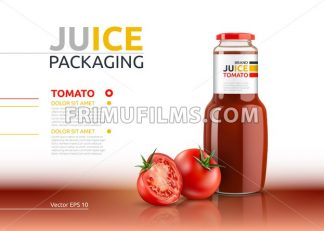 Tomato juice packaging realistic Vector mock up. Italian tomato sauce, seasoning or ketchup bottle. 3d detailed advertise template - frimufilms.com