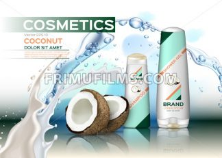 Vector Cosmetics set package with coconut. Hydration shampoo and conditioner with coconut water. Perfect for advertising, flyer, banner, poster. 3d illustration - frimufilms.com